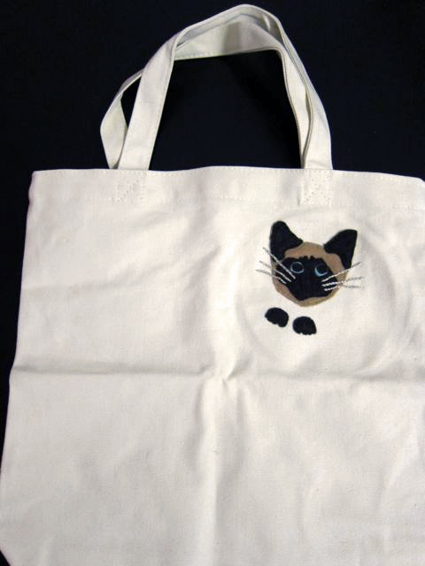 Mother's Day Hand-Stitched Cat Applique Bag | Red-Handled Scissors
