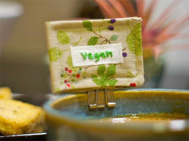 Tutorial: Vegan Serving Dish and Utensil Tags for Craftzine.com | Red-Handled Scissors