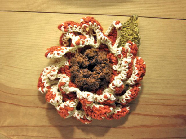 Crocheted Sunflower Brooch for Craftaholics Anonymous Handmade Gift Exchange | Red-Handled Scissors