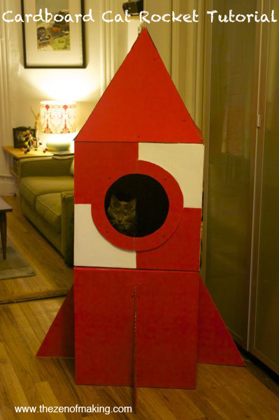 Tutorial: Cardboard Cat Rocket for Craftzine.com | Red-Handled Scissors