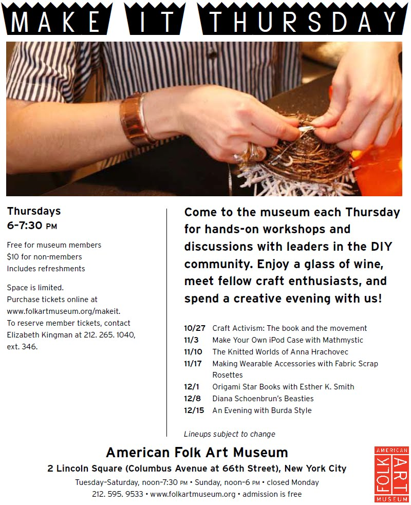 Join Me for Make It Thursday at the American Folk Art Museum | Red-Handled Scissors
