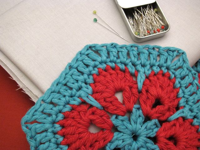 Sunday Snapshot: Crocheted Hexagon Shirt Supplies | Red-Handled Scissors