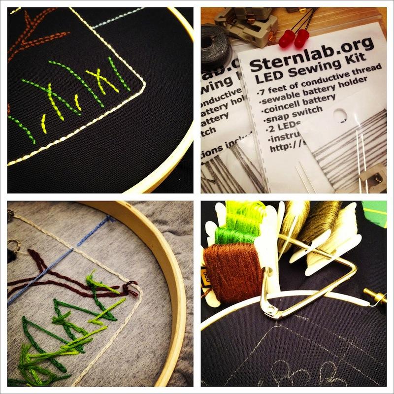 Sunday Snapshot: Dark Fabric Embroidery   Red-Handled Scissors