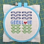 Geek Love Cross-Stitch Finished Square