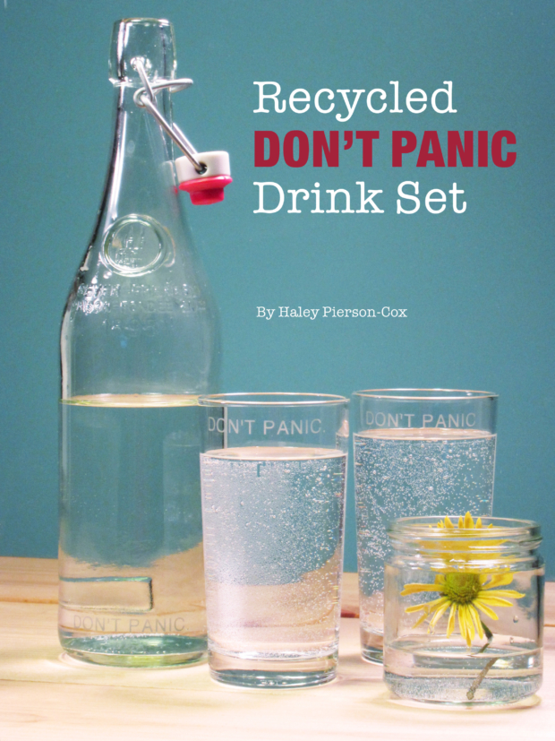 Tutorial: Recycled DON'T PANIC Drink Set: Combine a beautiful glass bottle with a pair thrift store glasses to make a fun Hitchhiker's Guide-inspired drink set!