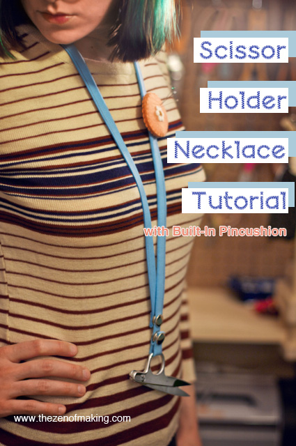Tutorial: Scissor Holder Necklace with Removable Pincushion | Red-Handled Scissors