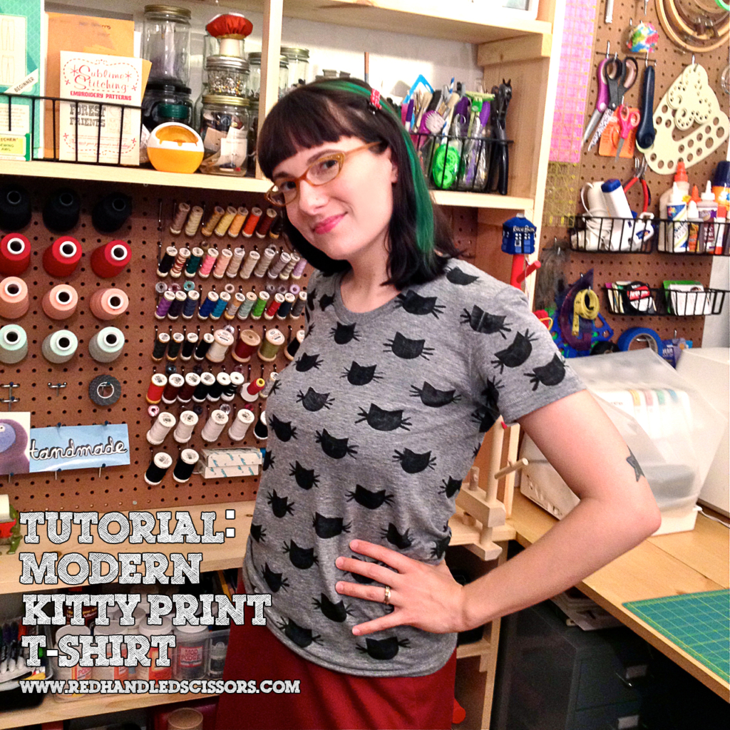 Tutorial: Block Printed Cat Pattern T-Shirt | Red-Handled Scissors