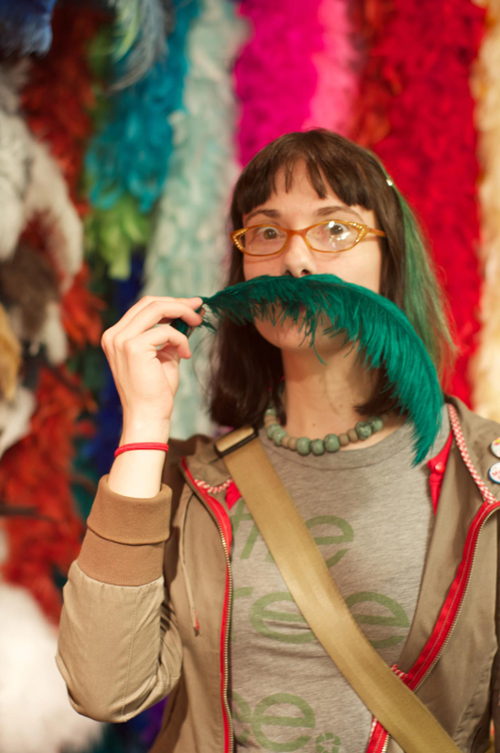 Sunday Snapshot: Feather Mustache FTW! | Red-Handled Scissors