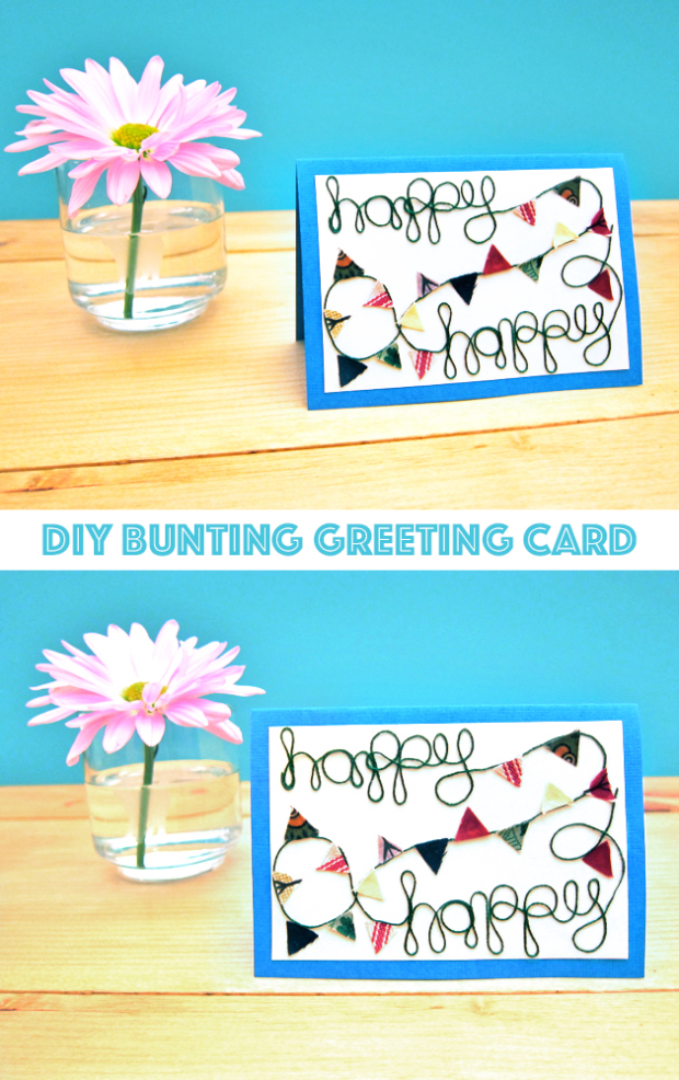 Tutorial: Colorful Bunting Greeting Card for Craftzine.com: It's always nice to have a handmade card or two tucked away, ready to pull out for special events or handwritten hellos. So, inspired by the beautiful summer bunting that's been popping up just about everywhere lately, I designed this fun little card that can be used for just about any joyful occasion.