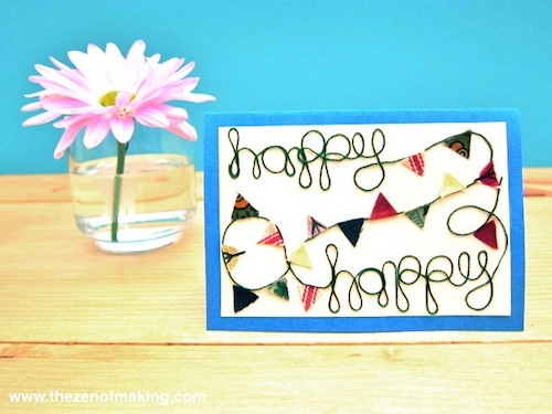 Tutorial: Colorful Bunting Greeting Card for Craftzine.com | Red-Handled Scissors