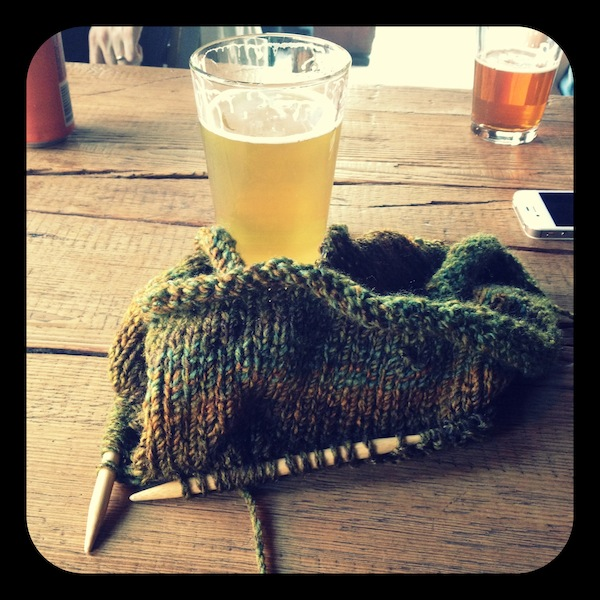 Sunday Snapshot: Beer and Knitting | Red-Handled Scissors