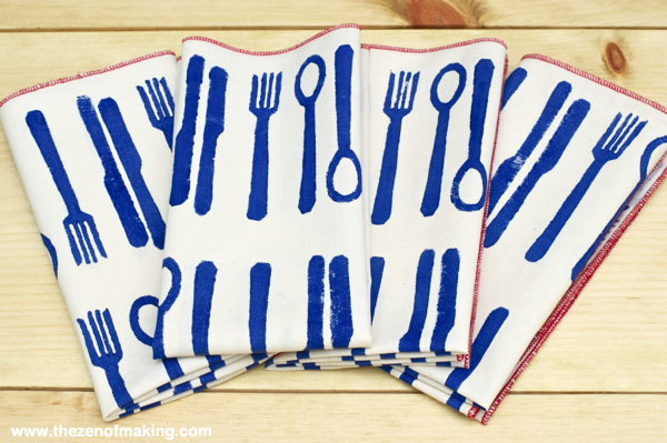 Tutorial: Modern Block Printed Napkins | Red-Handled Scissors