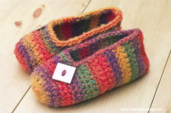 Crochet Pattern Rainbow Striped Slippers Red Handled Scissors