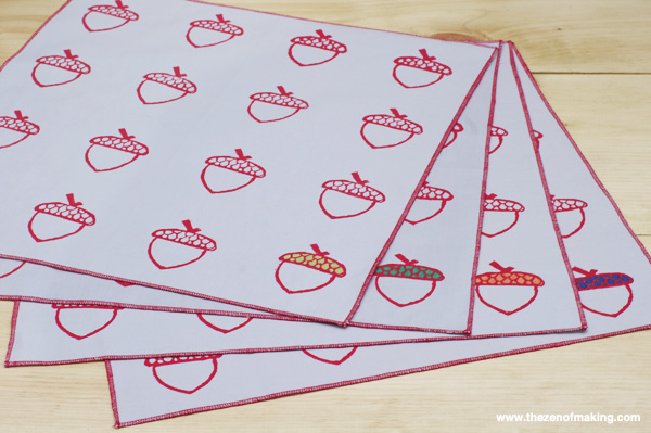 Tutorial: Acorn Block Printed Napkins | The Zen of Making