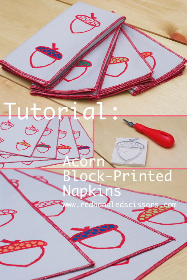 Tutorial: Acorn Block Printed Napkins: Make a set of autumn-inspired acorn-patterned cloth napkins with my new block printed napkin tutorial and free downloadable template!