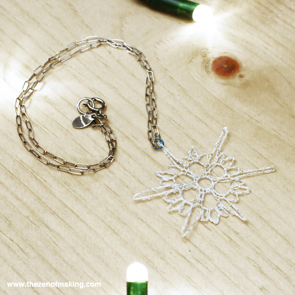 crocheted snowflake necklace