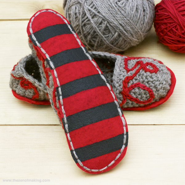 Tutorial: Fancy Felt Soles for Crocheted Slippers | The Zen of Making