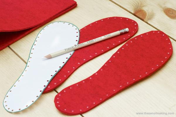 Tutorial Fancy Felt Soles For Crocheted Slippers Red Handled Scissors