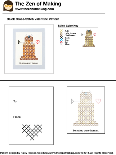 Pattern: Dalek Cross-Stitch Valentine | The Zen of Making