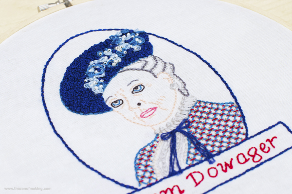 Downton Abbey-Inspired Dowager Countess Embroidery Pattern | Red-Handled Scissors