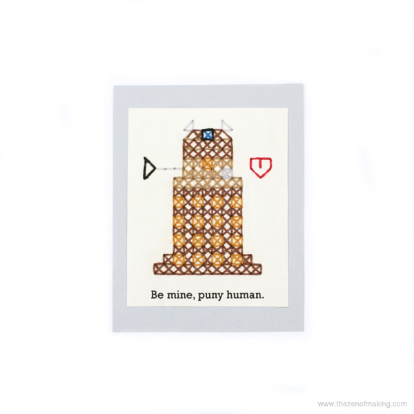 Pattern: Dalek Cross-Stitch Valentine | Red-Handled Scissors