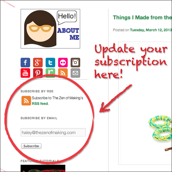 Update your RSS Feeds! | The Zen of Making