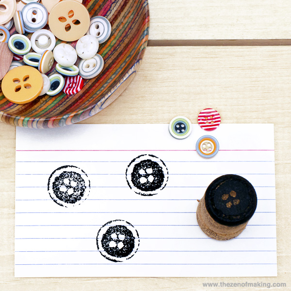 wine cork button stamp