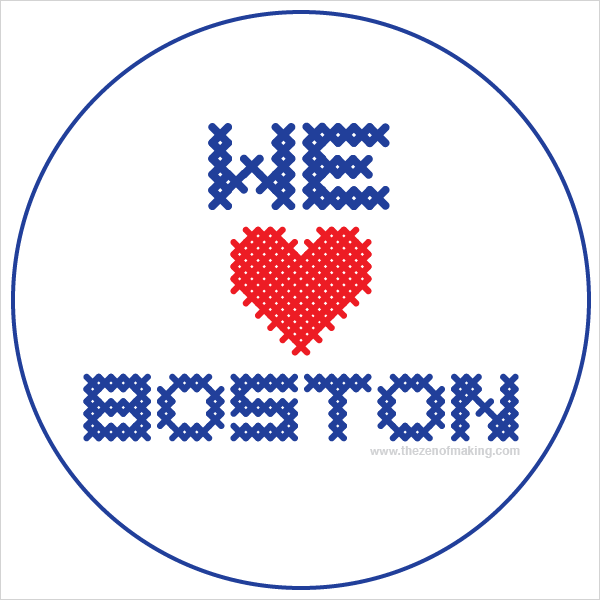 Badges: We Love Boston | Red-Handled Scissors