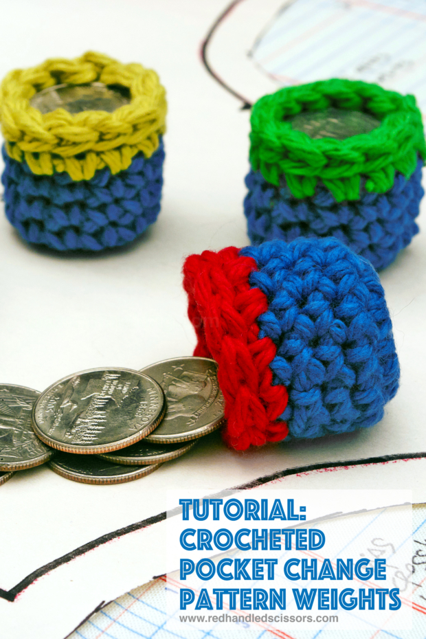 Tutorial: Crocheted Pocket Change Pattern Weights: Turn pocket change and yarn scraps into colorful, easy to make sewing pattern weights with this quick and simple crochet pattern!