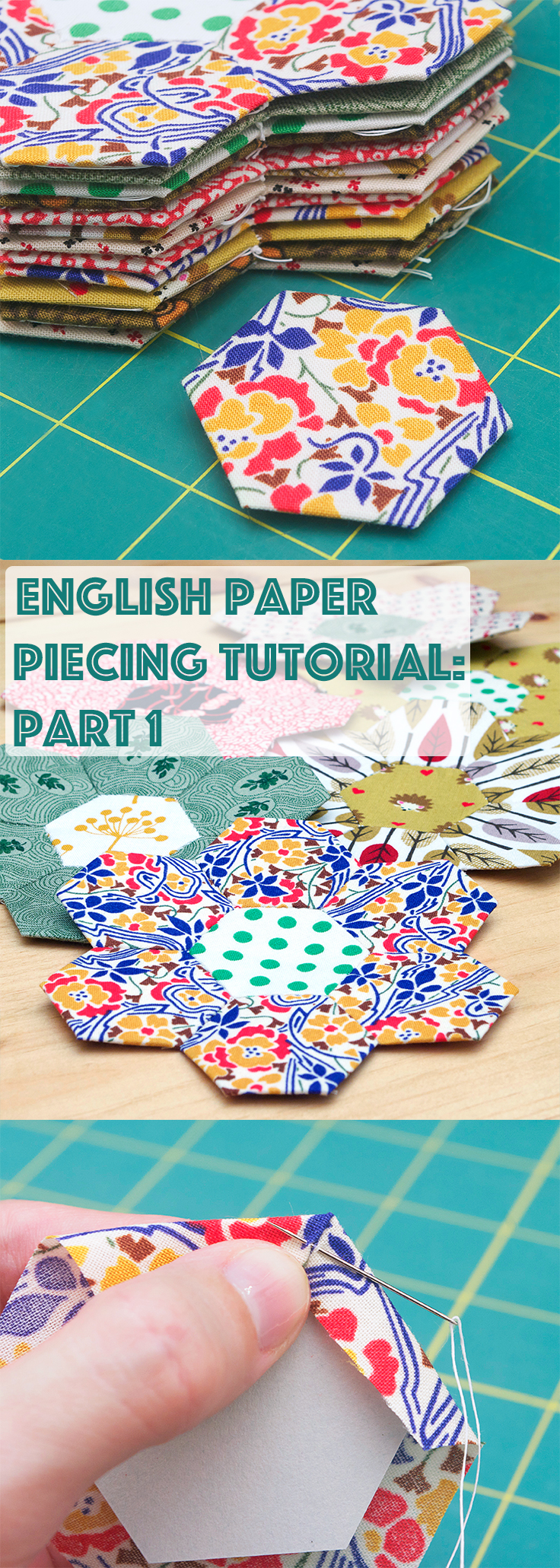 English Paper Piecing Tutorial: Part 1: Got fabric scraps? Get quilting! Jumpstart your hexie obsession with my free 1-inch hexagon template and part one in my English paper piecing tutorial series!