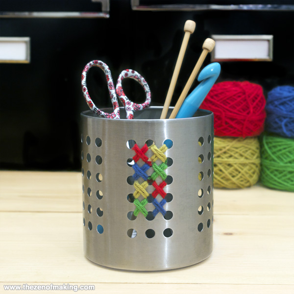 Organize: Cross-Stitch Storage Canisters | Red-Handled Scissors