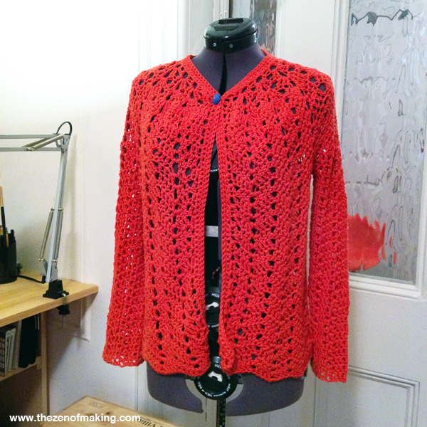 Chevron Lace Cardigan is Finally Finished! | Red-Handled Scissors