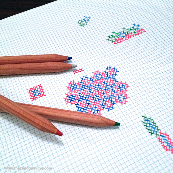 Sunday Snapshot: Hand-Sketching Cross-Stitch Patterns | Red-Handled Scissors