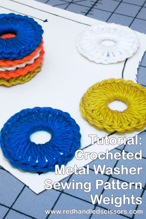 Video Tutorial: Crocheted Metal Washer Pattern Weights: What do huge hunks of metal need more than anything else in the world? Cozies. (Obviously.) Solution: My crocheted metal washer pattern weights tutorial!
