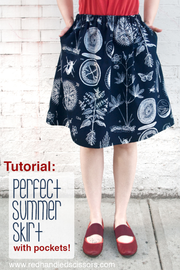 Tutorial: Perfect Summer Skirt (with Pockets!): Love a skirt with pockets? Sew a custom summer skirt of your very own with this beginner-friendly elastic-waist skirt sewing tutorial!