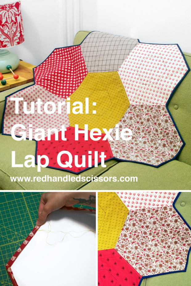 Tutorial: Giant Hexie Flower Lap Quilt: I'd like to introduce you to my new favorite thing to make: the giant hexie flower lap quilt! (Also affectionately known as the big-ass hexie quilt.)