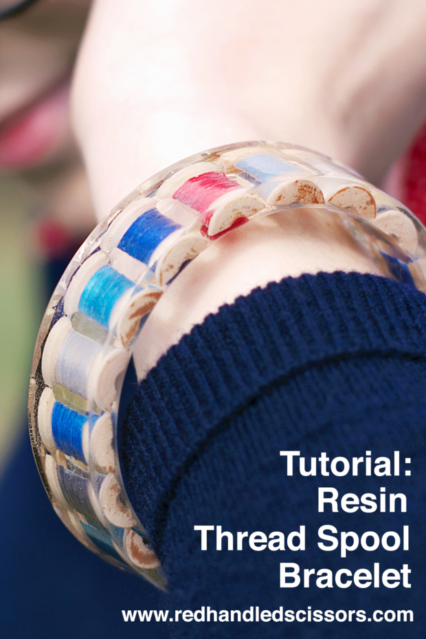 Tutorial: Resin Thread Spool Bracelet: Turn mini wooden thread spools into a custom resin bangle bracelet with this detailed tutorial!