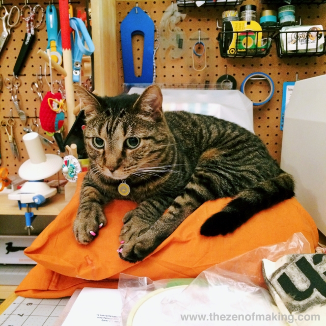Sunday Snapshot: Stripy Cat Worktable Takeover