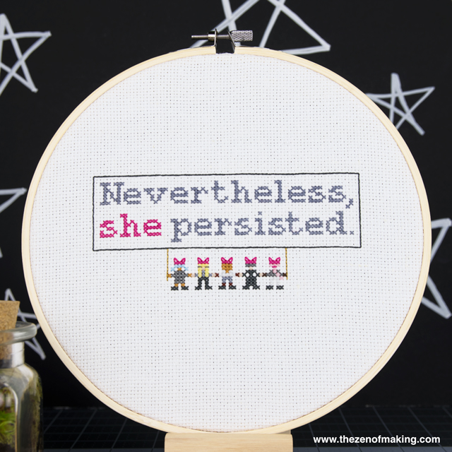 Pattern: Nevertheless, She Persisted Cross-Stitch Sampler