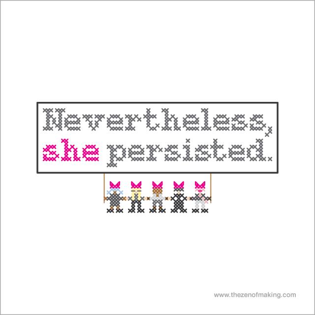 Pattern: Nevertheless, She Persisted Cross-Stitch Sampler