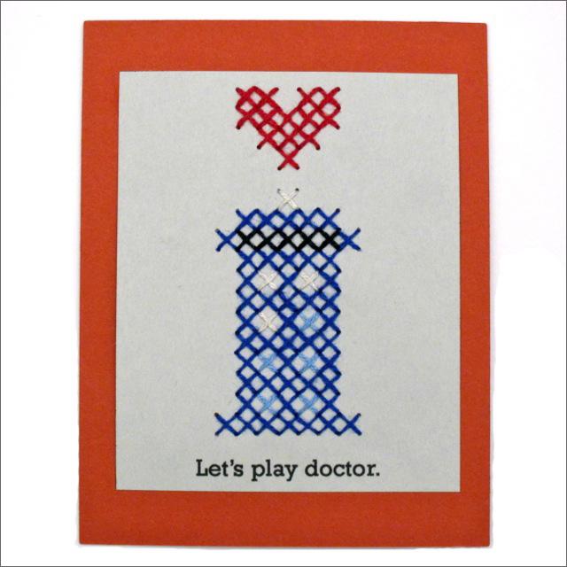 pattern tardis cross stitch valentine red handled scissors