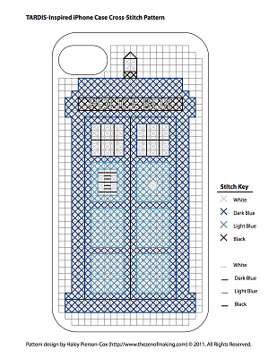 TARDIS iPhone Case Cross-Stitch Pattern | Red-Handled Scissors